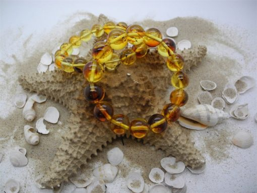 Natural Baltic round amber beads bracelet with insects BRA07