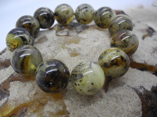 Natural Baltic amber round green beads bracelet BRA11