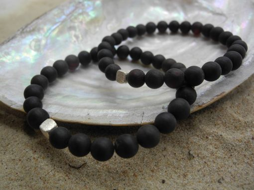 Natural Baltic unpolsihed black amber round beads bracelet BRA16