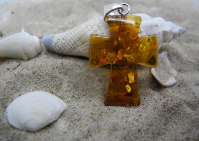 "Natural Baltic amber pendant ""Cross"" with sterling silver 925 P01"